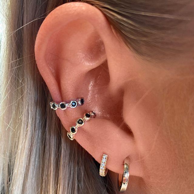Ear Cuff - Black Stones